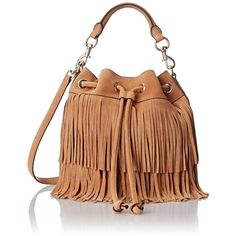 Rebecca Minkoff Fringe Fiona Bucket Bag ($345) ❤ liked on Polyvore featuring bags, handbags, shoulder bags, suede handbags, fringe handbags, fringe shoulder bag, rebecca minkoff and suede fringe purse