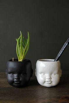 Child Ceramic Vase available in Black or White