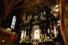 The Black Madonna sits above an Altar of ebony and silver donated by the Grand Chancellor George Ossoliński in 1650.