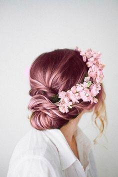 cheveux couleur licorne rose pastel hair