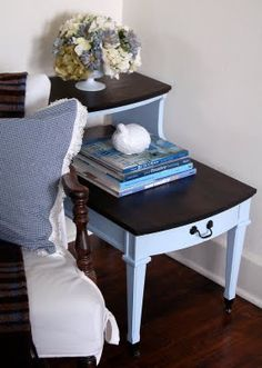 finally something cute to do with a phone table-- this is the best idea for these tables ive ever seen! this actually looks stylish!