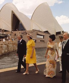 Prime Minister Whitlam & wife Margaret with the Philippines 'First Lady', Imelda Marcos, at the Sydney Opera House during the visit of President Ferdinand Marcos and Mrs Marcos, October 1973.
