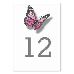Pink Grey Butterfly Wedding Table Number