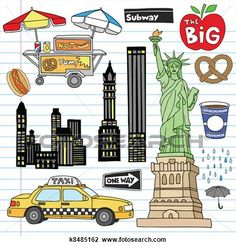 New York City Doodles Vector Set View Large Clip Art Graphic