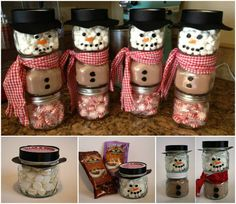 Hot Cocoa Snowmen Such a good present idea! and also make a nice Christmas decoration for next year if you fill with coloured sand or something