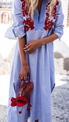 embroidered stripe shirt dress. #toryburch