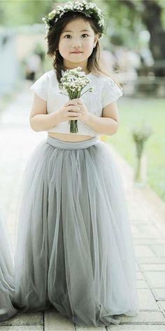 Two Pieces Tulle Flower Girl Dresses, Wedding Little Girl Dresses Wedding Dresses For Girls, Mothers Dresses, Little Girl Dresses, Wedding Party Dresses, Girls Dresses, Bridesmaid Dresses, Bridesmaids, Tulle Flower Girl, Tulle Flowers