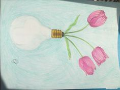 Tulips in a vase- colored pencil in March 2017