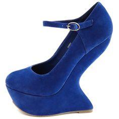 Velvet Mary Jane Heel-Less Wedge ($40) ❤ liked on Polyvore