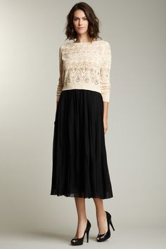 ADAM by Adam Lippes Double Box Pleat Skirt. The perfect length skirt