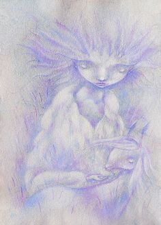 Wall Art White Monday Winter Painting Girl with Pet by pastelanna, $50.00