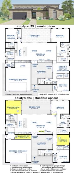 courtyard23 is a flexible semi-custom house plan with your choice of 2-6 bedrooms and 3-4 baths. This home has a huge kitchen and open-concept greatroom,