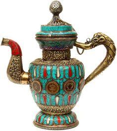Non Solo, Ethnic Home Decor, Tibetan Art, Indian Art Paintings, Blue Pottery, Tea Service, Tea Accessories, Boho Gypsy, Clay Art