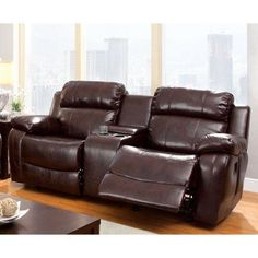 Furniture of America Hartwig Recliner Loveseat with Center Console - IDF-6312-LV