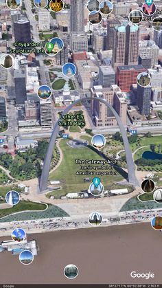 Postcard from Google Earth Google Earth Images, Gateway Arch, Baseball Field, The Expanse, America, Park, Parks, Usa