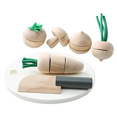 Play Vegetables from Muji. Love these. Love wood toys. I will collect them after the kids grow up.