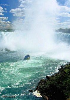 Niagara Falls, on the border between the US and Canada