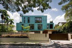 Glamorous street view of the green house by k2ld architects