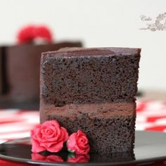 Moist and very rich chocolate cake with dark chocolate ganache