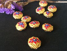 Top Qiality red flower wiry enamel craft gilding jewelry round beads, gilding round beads, good for DIY jewelry,15mm by ForDIYsupplies on Etsy