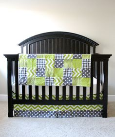 Custom Crib Bedding Lime green and grey by GiggleSixBaby on Etsy Baby Boy Rooms, Baby Boy Nurseries, Grey Nursery Boy, Blue Crib, Custom Baby Bedding, Purple Bedding, Boy Decor, Nursery Bedding, Crib Sheets
