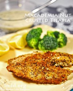 This macademia nut crusted tilapia is amazing. The best way to eat tilapia. Fish Recipes, Seafood Recipes, Dinner Recipes, Cooking Recipes, Healthy Recipes, Dinner Ideas, Recipies, What's Cooking, Cooking Time