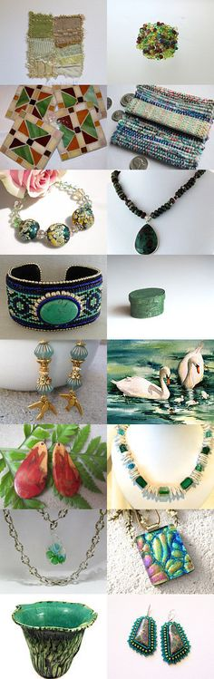 Green Is The Color Of Summer on STATteam by Marcia McKinzie on Etsy--Pinned with TreasuryPin.com #Estyhandmade #giftideas #springfinds