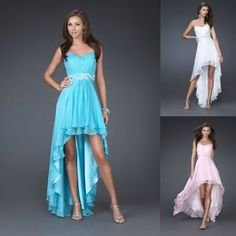Short in the front long in the back. What colour is the dress going to be?