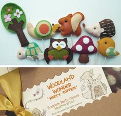 Set of 4 WOODLAND WONDER Custom Party Topper Party por GiftsDefine