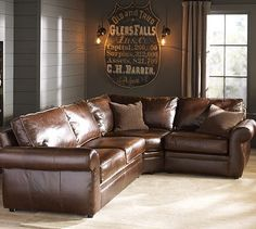 Leather sectional: indestructible and great to fit lots of family. Pearce model from Pottery Barn.