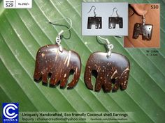 Carefully Handcrafted Unique Coconut shell Earrings The eco friendly Sri Lankan product is another unique item made out of the coconut tree.