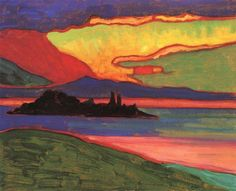 Gabriele Münter (German, Expressionism, Sunset over Staffelsee, Oil on cardboard, 33 x cm x inches). © This artwork may be protected by copyright. It is posted on the site in accordance with fair use principles. Wassily Kandinsky, Landscape Art, Landscape Paintings, Art Fauvisme, Blue Rider, Franz Marc, Inspiration Art, Art Academy, Art Moderne