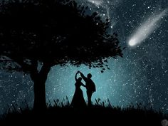 Romantic Dance under the Stars Dancing In The Moonlight, Under The Stars, Stars And Moon, Night Skies, Urban Art, Fantasy Art, Fairy Tales, Street Photography, Street Art