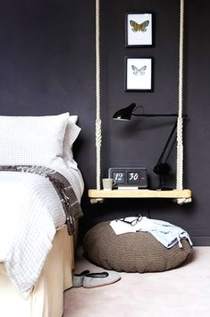 Rope Swing | Alarm Clock | Dark Wall Color | Bedroom Ideas | Bedside Tables | Nightstand Furniture | Home Design