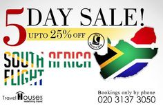 ✈ 5 Day #SALE! South Africa #Flight Deals fr £413. Dial 020 3137 3050 for assistance. #London #BlackFriday