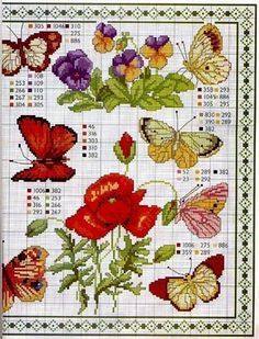 cross stitch flowers and butterflies Butterfly Cross Stitch, Cross Stitch Bird, Cross Stitch Alphabet, Cross Stitch Animals, Cross Stitch Flowers, Cross Stitch Charts, Cross Stitch Designs, Cross Stitching, Cross Stitch Embroidery