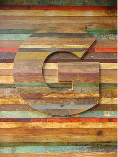 reclaimed wood : Letter G