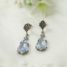 Marcasite and Aquamarine Blue Stone Earrings