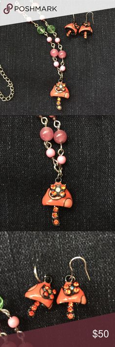 Anna Sui necklace & earrings Anna Sui necklace & earrings. Sold together. Cute mushrooms & orange rhinestone butterflies. Multi colored beaded necklace. 90's. No trades Anna Sui Jewelry Necklaces