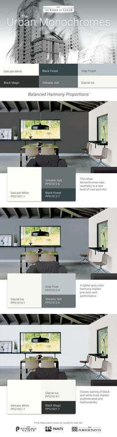 Find palettes that match your style and sensibilities and get tips on designing beyond paint color to make it all come together. Shades Of Grey Paint, Grey Paint Colors, 50 Shades, Color Trends 2018, 2018 Color, Porter Paints, Most Popular Paint Colors, Beyond Paint, Interior Paint
