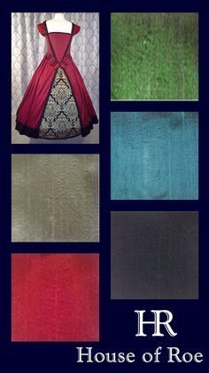 Jewel-tone silk colors available for made-to-order Renaissance dresses by House of Roe.