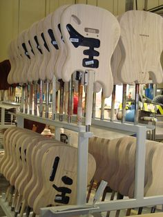 Fender guitars awaiting their color.