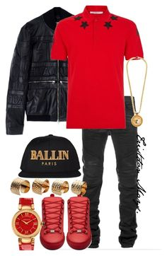 """""""Style Brothers: Redrum."""" by monroestyles ❤ liked on Polyvore featuring Hood by Air, Balmain, Balenciaga, Givenchy, Maison Margiela, Versace, Alex and Chloe and MensFashion"""