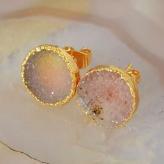 12mm Amazing Agate Druzy Geode Round Studs Earrings G45641