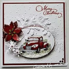somethinggonemissing: One For the Boys over at By The Cute & Girly - Marianne Poinsettia, Snowflake, Icicle border die - Cheerylyn -Holly Flourish - Gems from stash - Inkylicious -Merry Christmas - Snowdots embossing folder Homemade Christmas Cards, Stampin Up Christmas, Christmas Cards To Make, Christmas Tag, Handmade Christmas, Homemade Cards, Holiday Cards, Stampinup Christmas Cards, Xmas Cards Handmade