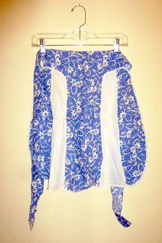 Vintage Apron Blue and White Cotton Feedsack by VintageGirlStuff