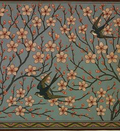 Walter Crane ~ Almond Blossom and Swallow, 1878                                                                                                                                                      Plus