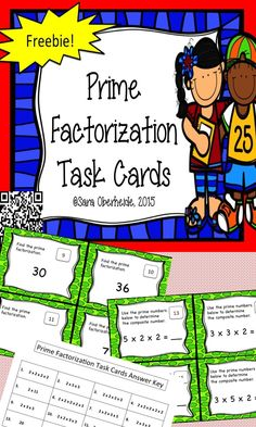 16 prime factorization task cards for your classroom!  Free!   #freebie  #math…