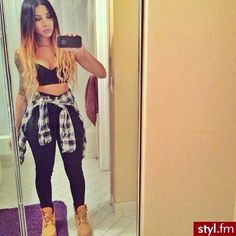 Pretty girl swag crop top waist thighs timberlands outfit ombre hair plaid blonde to black Swag Outfits For Girls, Dope Outfits, Girl Outfits, Casual Outfits, Summer Outfits, Fashion Outfits, Fashion Hair, Dope Fashion, Fashion Killa