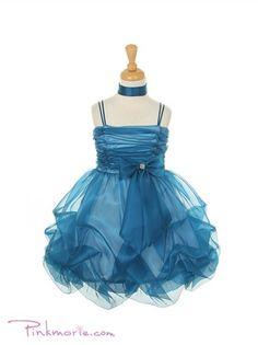 Teal Organza Short Gathered Girl Dress